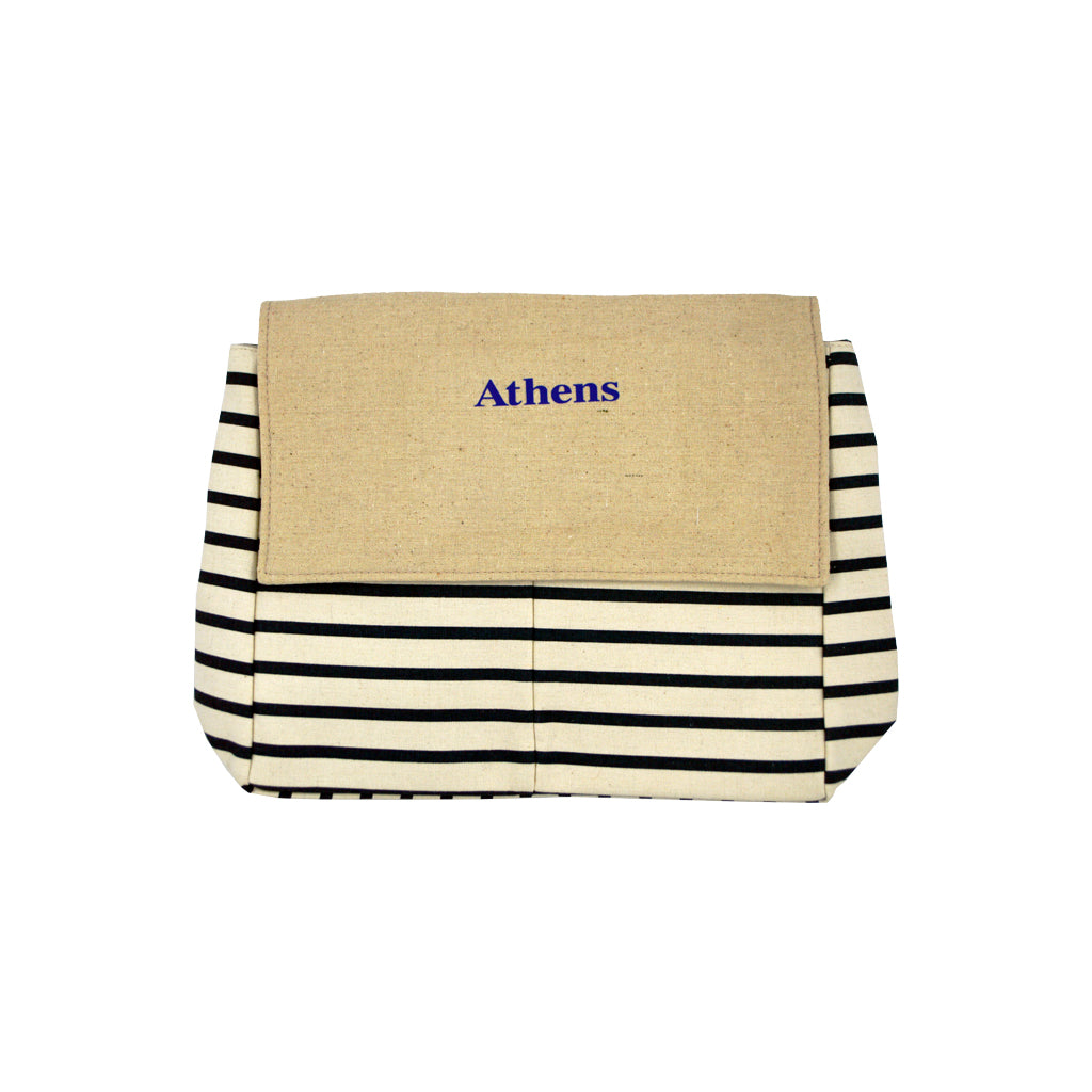 Bag with black-white lines and logo athens 42cm