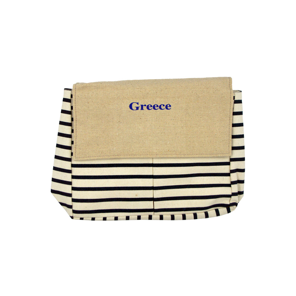 Bag with black-white lines and logo greece 42cm