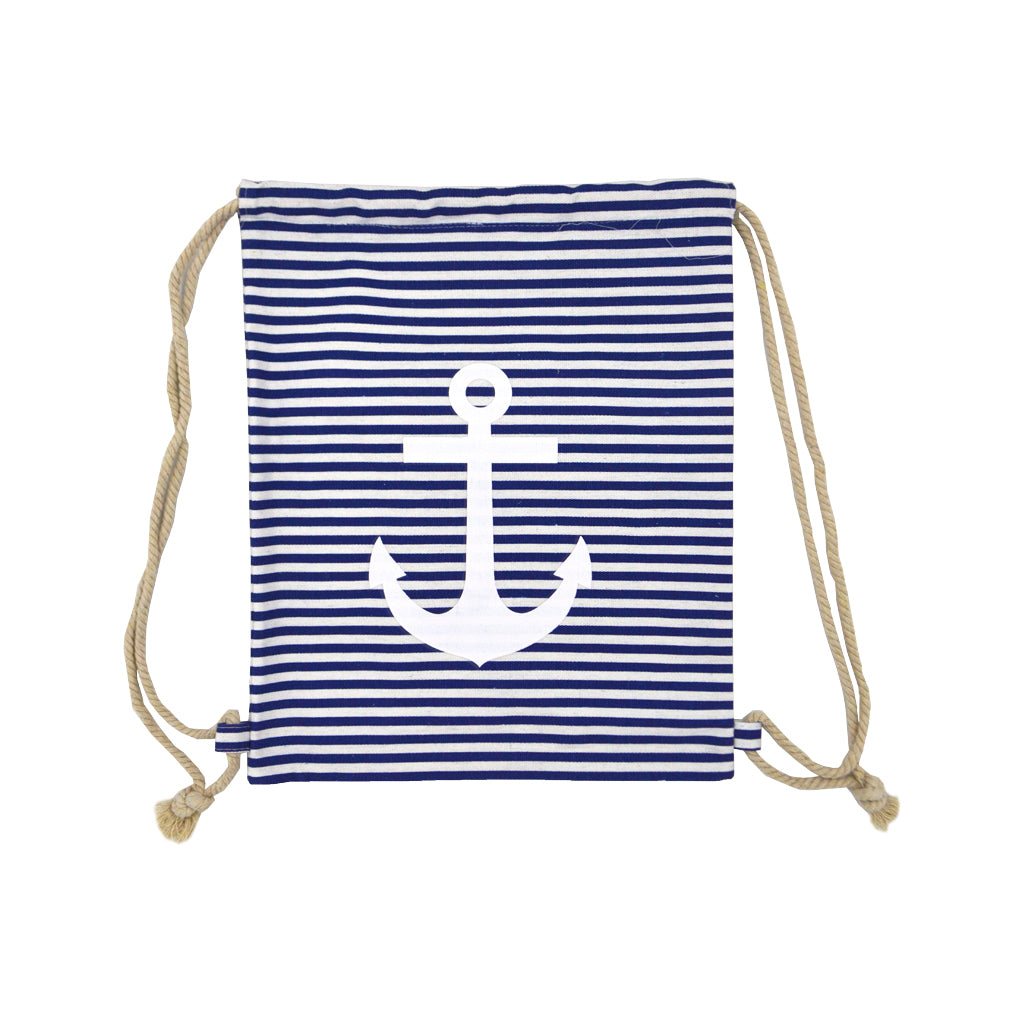 Bag with blue-white lines and a big anchor 40cm
