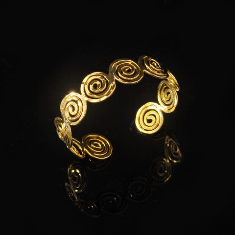Gold plated bangle long life spiral