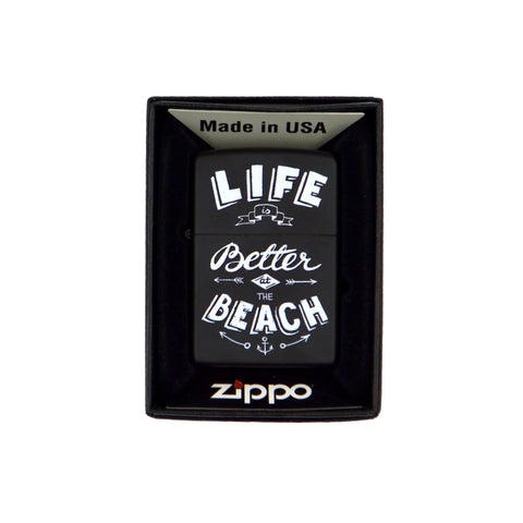 Zippo ''Life is better at the beach'' (black) 6cm