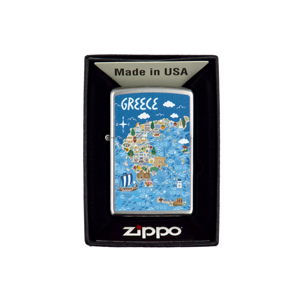 Zippo with Greece (light blue) 6cm