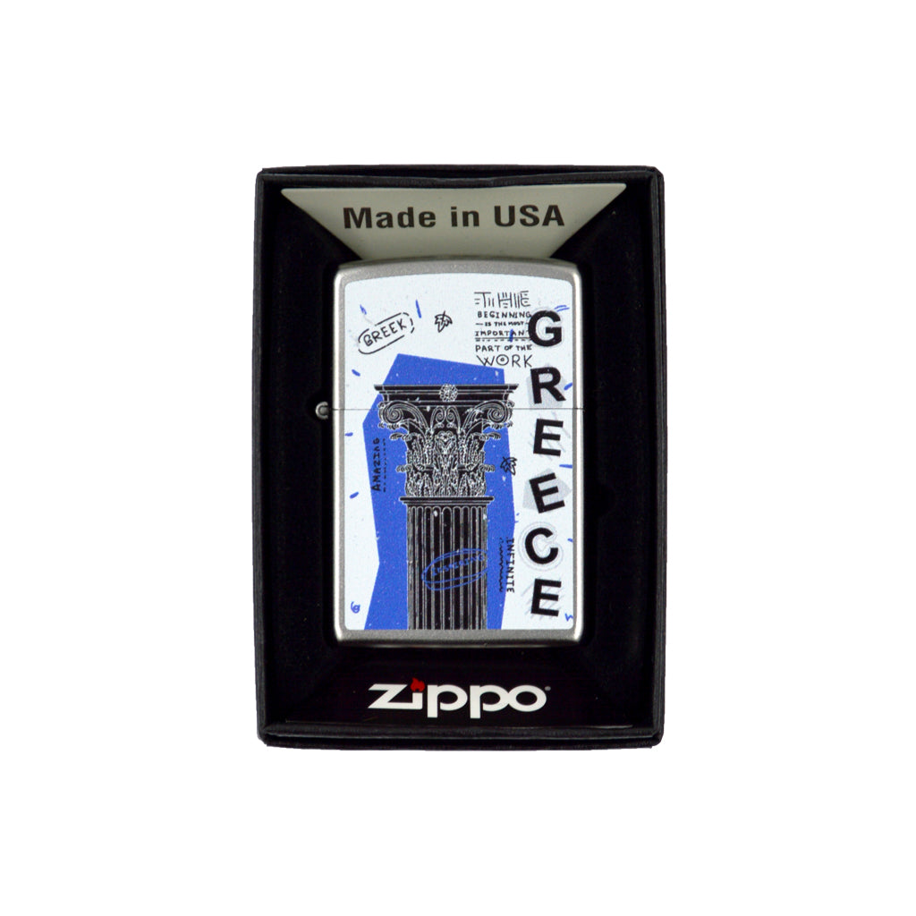 Zippo with Ancient Greek column (white) 6cm