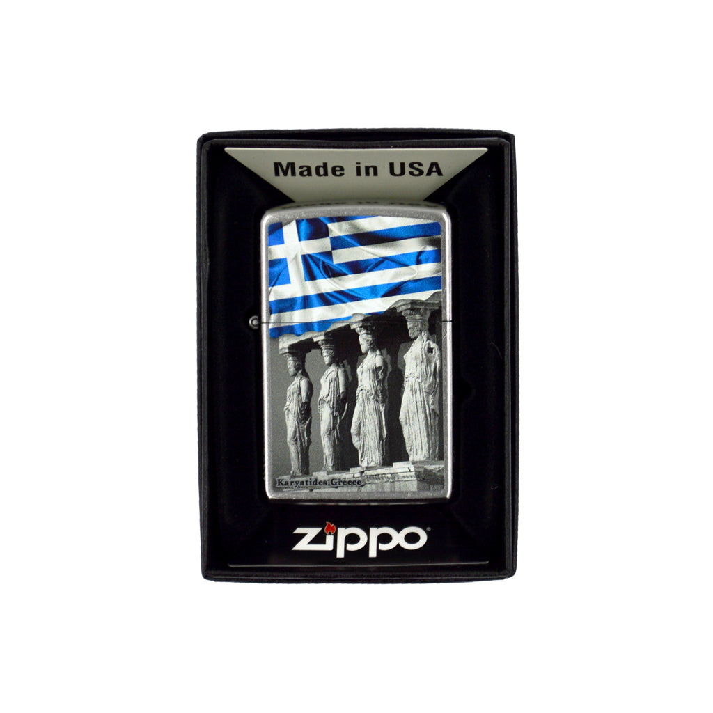 Zippo with Karyatides and the Greek flag (grey) 6cm