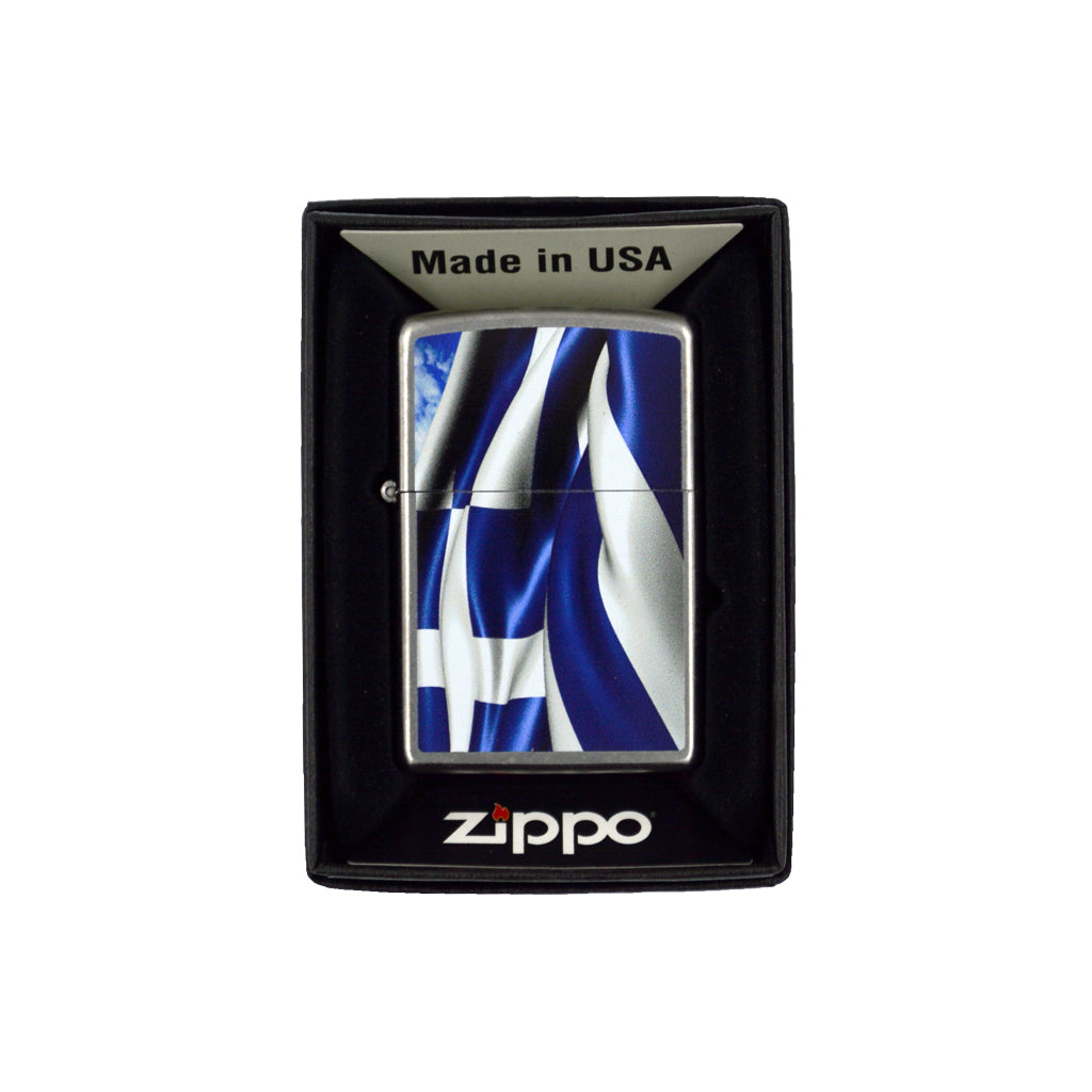 Zippo with the Greek flag (blue) 6cm