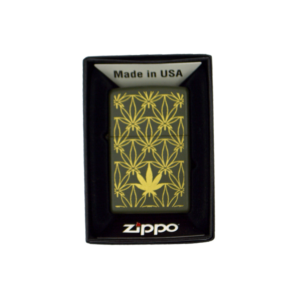 Zippo with cannabis leaves (dark green) 6cm