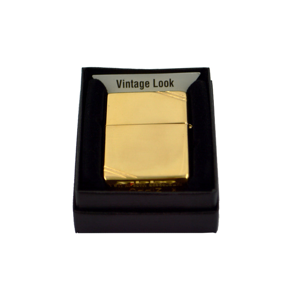 Zippo with lines on corners (light gold) 6cm