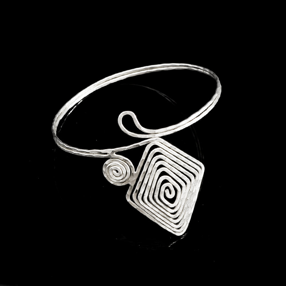 Silver plated bangle meandros symbol of eterity and a long life spiral