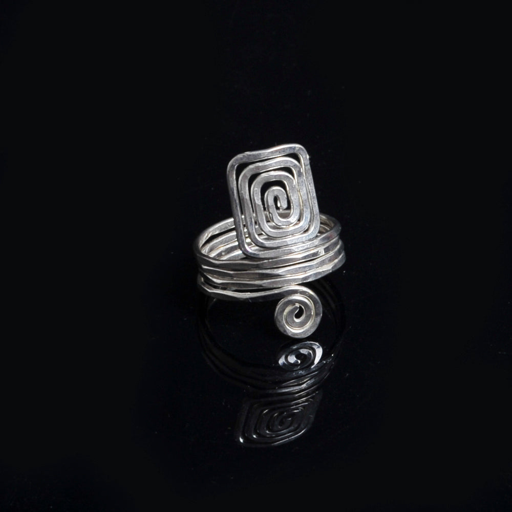 Silver plated ring meandros symbol of eternity and long life spiral