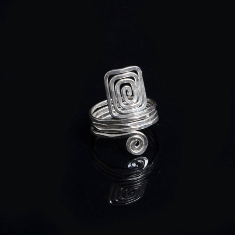 Silver plated ring symbol of eternity and long life spiral