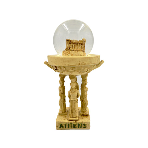 Snow ball with Caryatides and the Parthenon and athens logo (Pale brown) 12cm