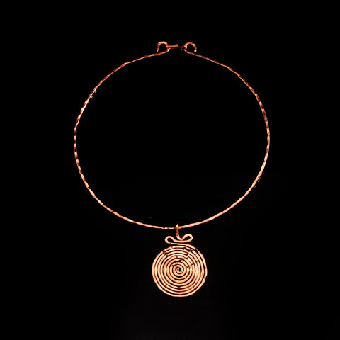 Pink gold plated pendant long life spiral