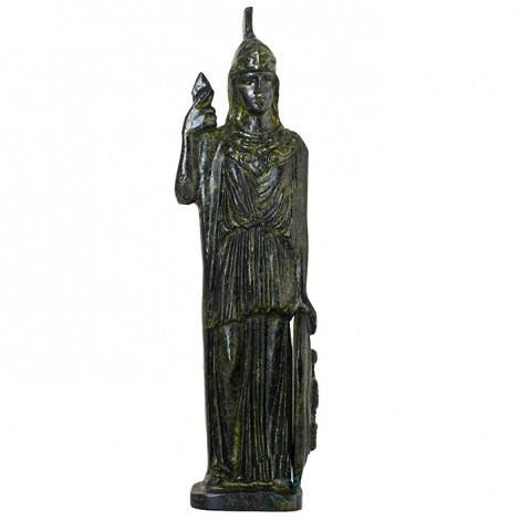 Athena goddesses of wisdom with shield (bronze natural oxydite)
