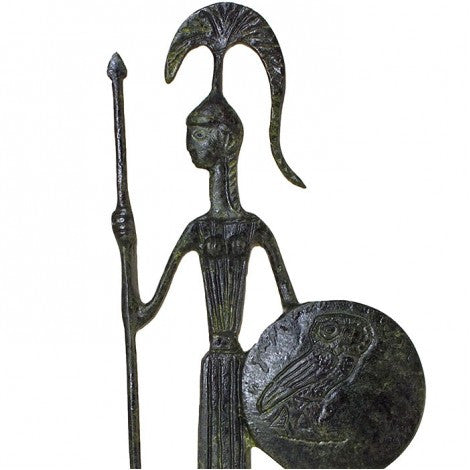 Athena goddesses of wisdom with spear and shield (bronze natural oxydite)
