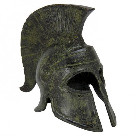 Corinthian helmet with crest 16cm (bronze natural oxydite)