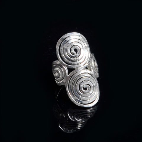 Silver plated ring long life spirals