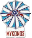 Pin Windmill Mykonos logo 2cm (White - Light blue)