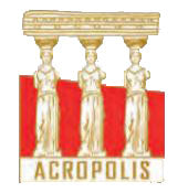 Pin Caryatides - Acropolis logo 2.5cm (Gold - White - Red)
