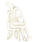Pin Male harp player Cycladic art 2.5cm (White - Gold)