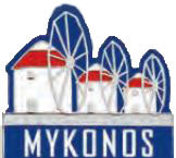 Pin Windmills Mykonos logo 2.5cm (White - Blue - Red)