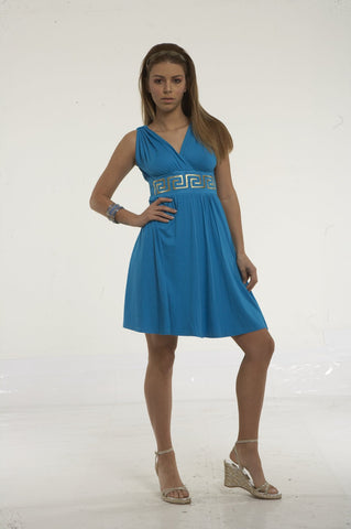 Mini dress with gold greek key embroidey