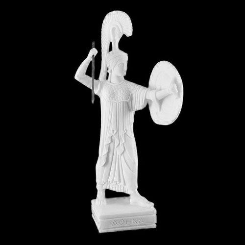 Athena with shield statue