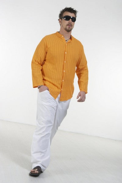 Plain men's shirt with mao collar and long sleeve