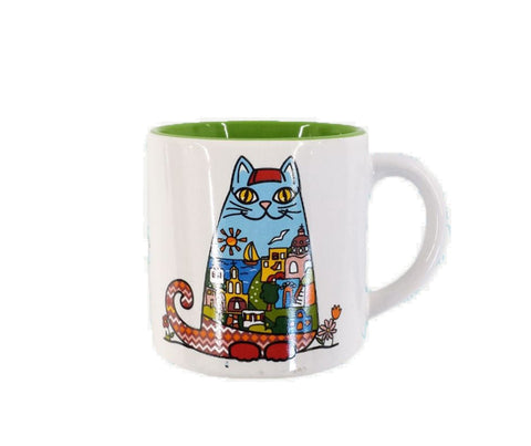 Espresso mug cat 7cm White - Green