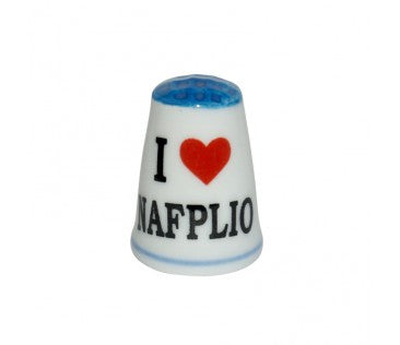 Thimble i love Nafplio 3cm light blue
