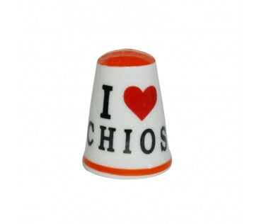 Thimble i love Chios 3cm orange