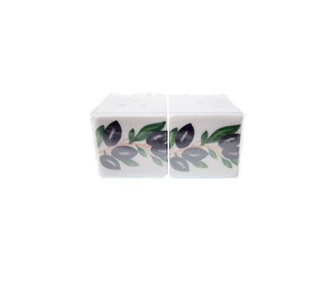 Ceramic Salt & Pepper olive 3cm white