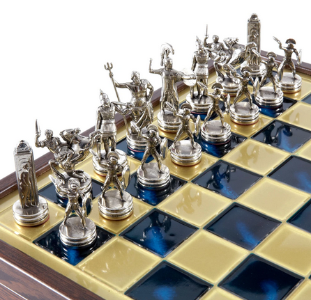 Chess set greek mythology in wooden case with storage 34cm