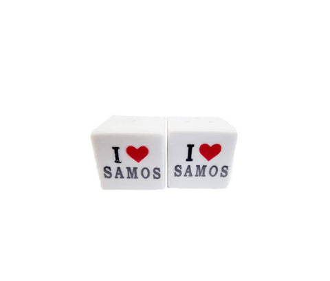 Ceramic Salt & Pepper i love Samos 3cm white