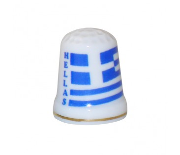 Thimble Greek flag 3cm white
