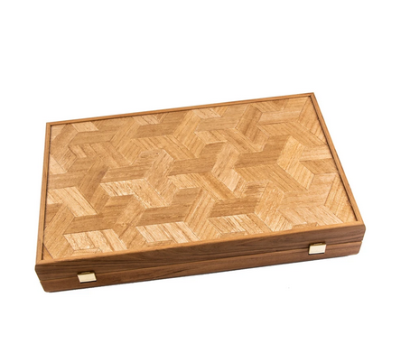 Marquetry cube wood illusion (with olive wood checkers) 48 x 30 cm