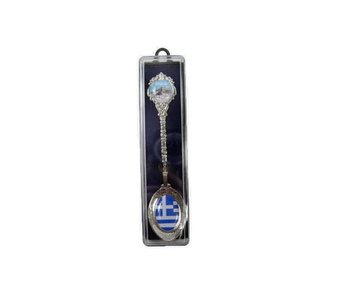 Decorative teaspoon Greek flag Acropolis 12cm Dark blue