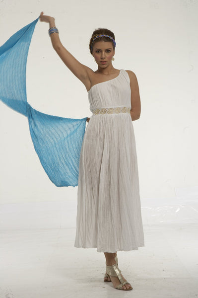 Long dress with greek key embroidery on waist
