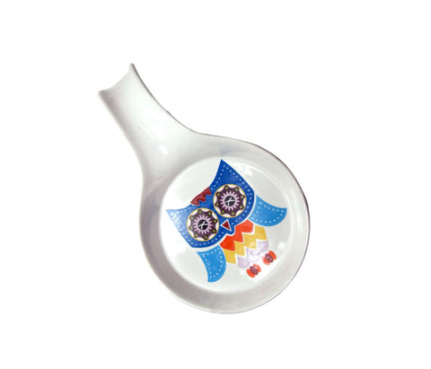 Porcelain ladle owl 20cm colorful