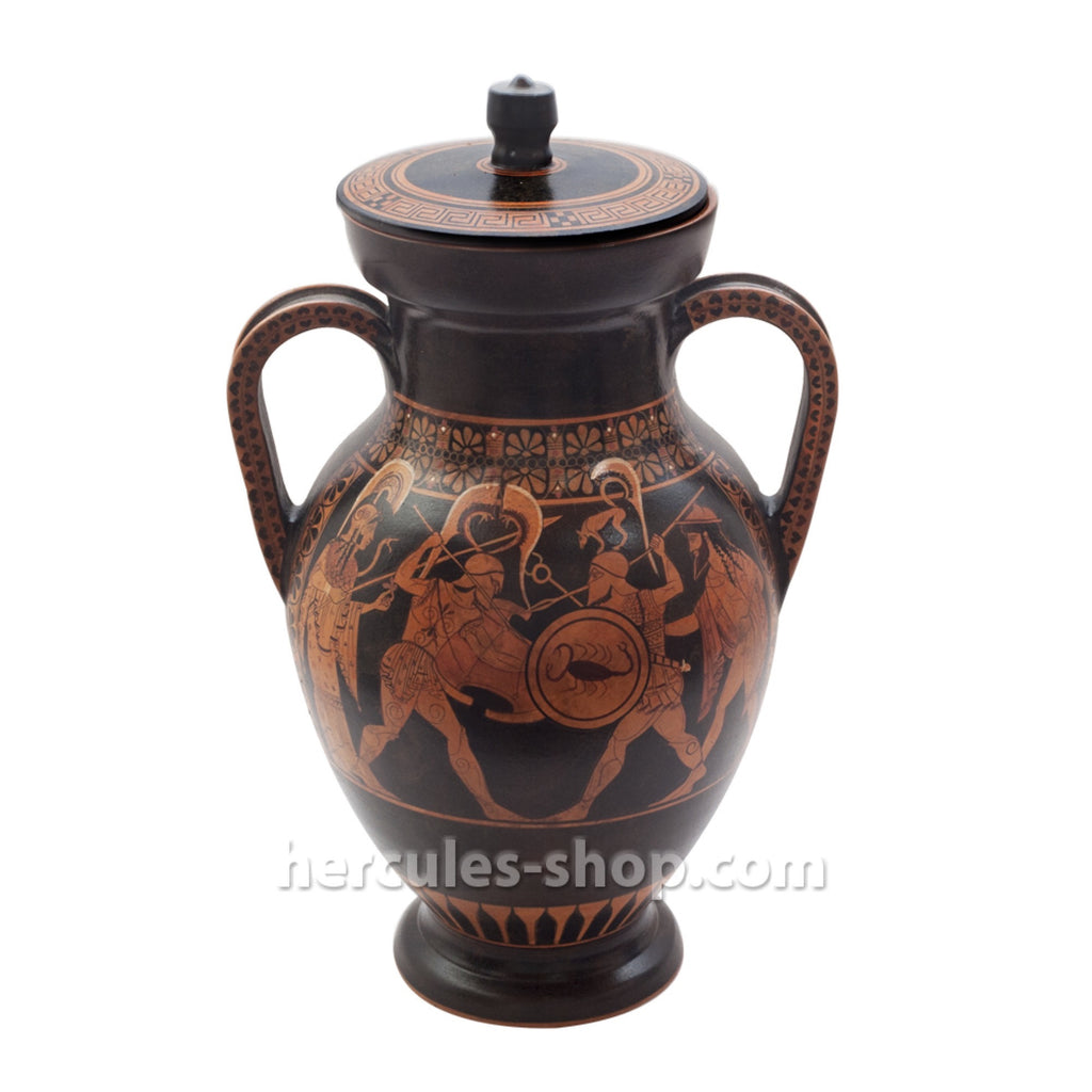 Red figured amphora illustrates the clash of two warriors 35cm