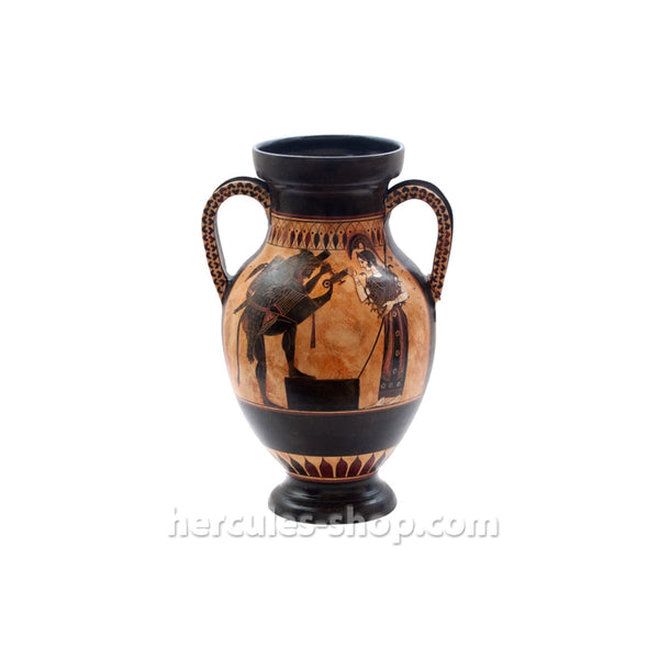 Black figured amphora illustrates Hercules the Greek hero who is taming the multi headed animal Cerberus  26cm