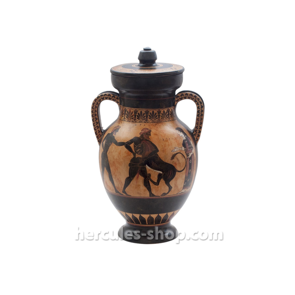 Black figured amphora illustrates Hercules killing the lion of Nemea 30cm