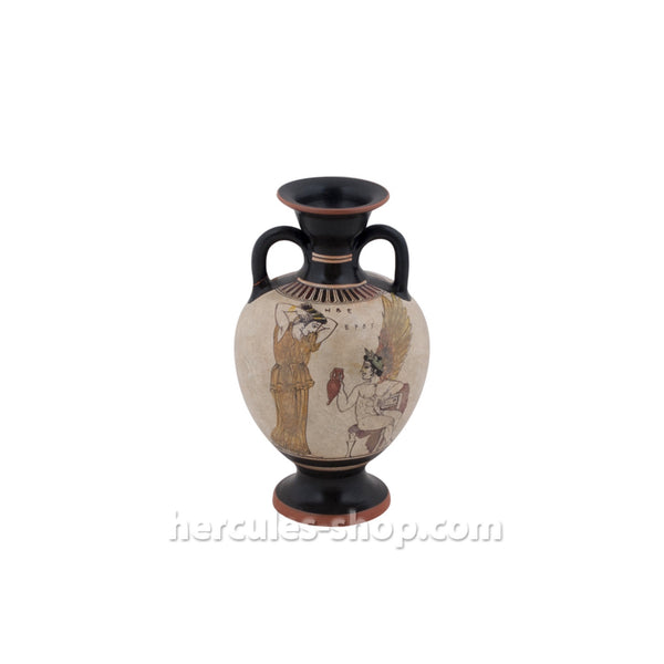 Attic amphora illustrates Hebe the goddess of youth and Eros 22cm