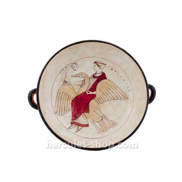Red figured kylix illustrates Aphrodite the goddess of beauty riding a goose 28cm