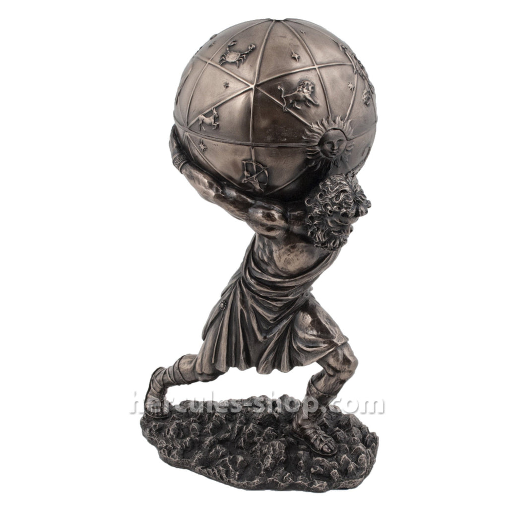 Atlas holding a sphere with zodiac signs ( box ) 30cm