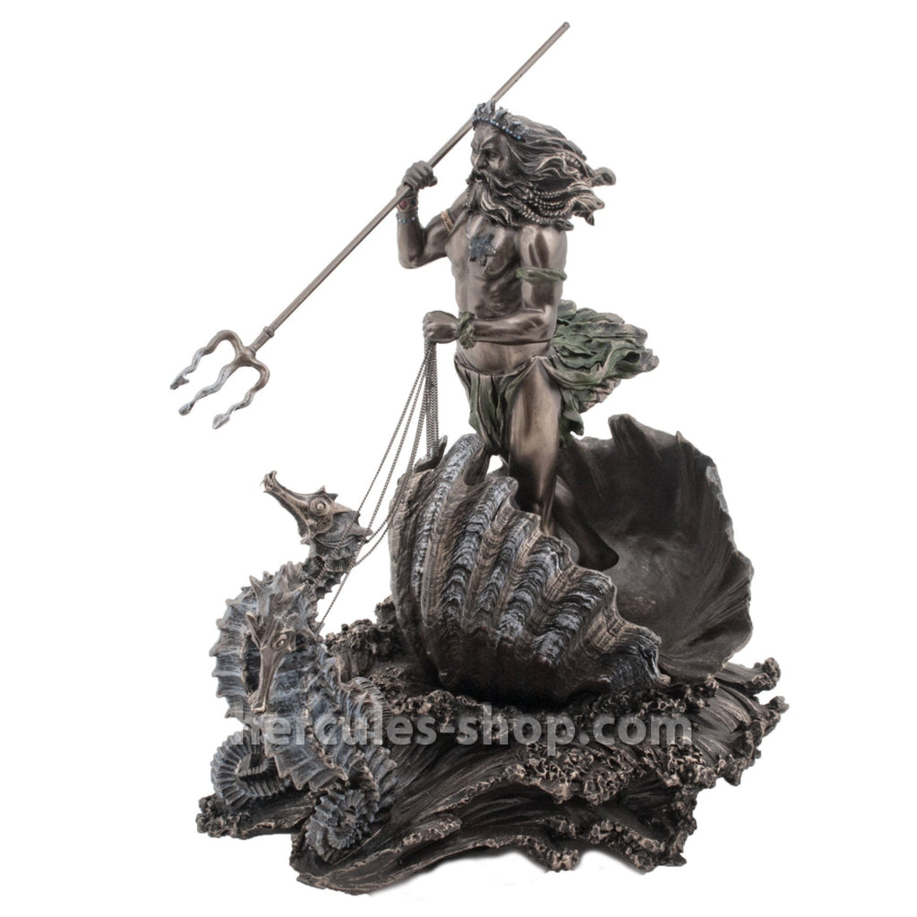 Poseidon standing on a shell with two seashorses 30cm