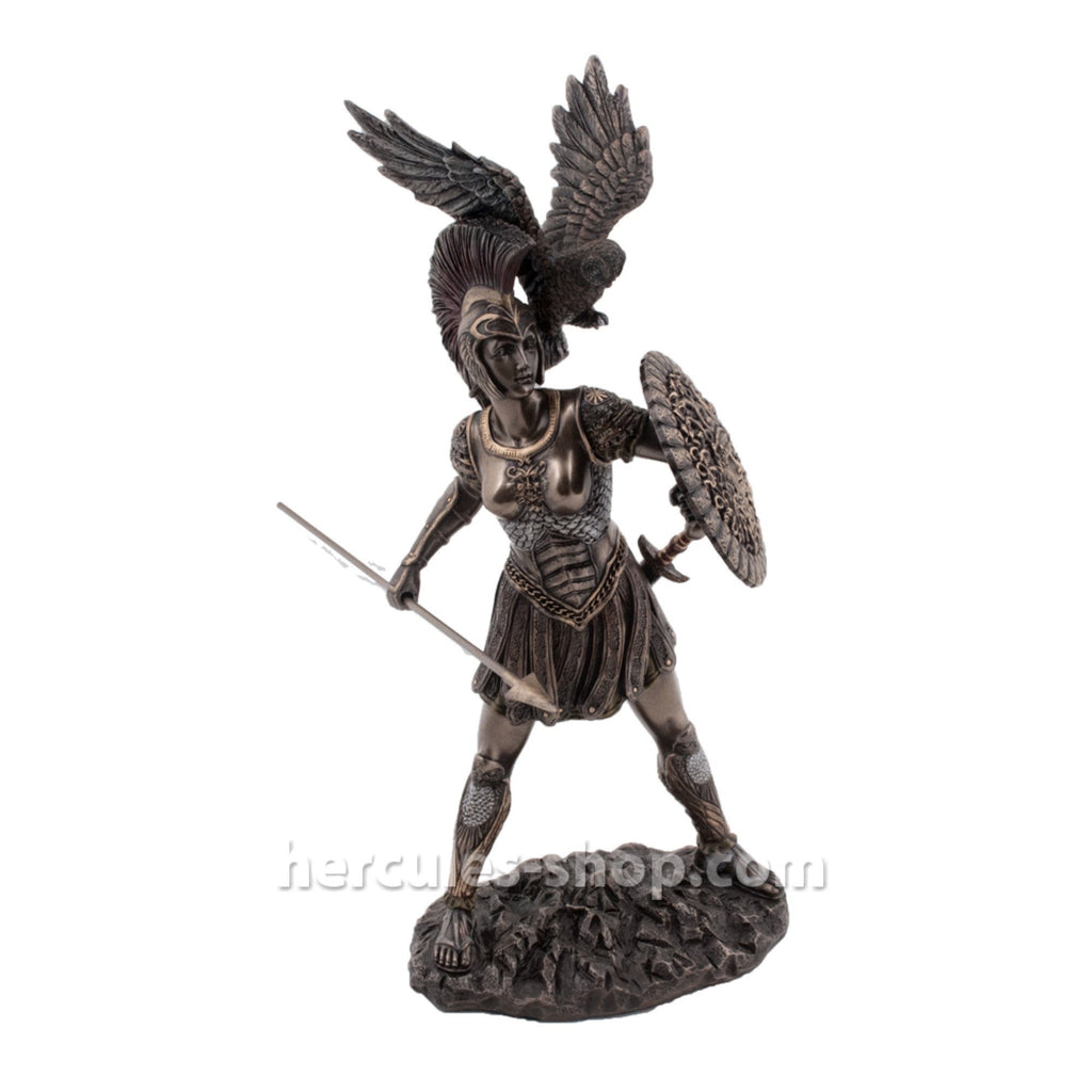 Athena with hawk, spear and shield 30cm