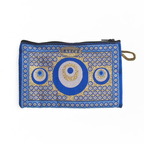 Purse blue with greece logo and evil eyes 16cm