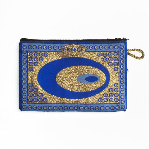 Purse dark blue-gold with greece logo and evil eyes 16cm