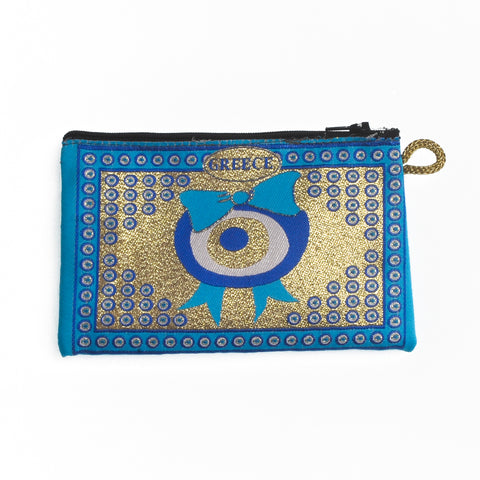 Purse light blue-gold with evil eyes,bows and greece logo 16cm