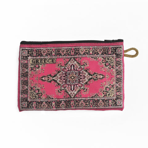 Purse dark pink with greece logo 16cm